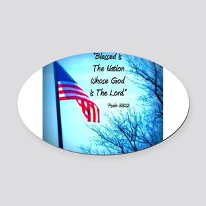 Bless Is The Nation Flag Oval Car Magnet